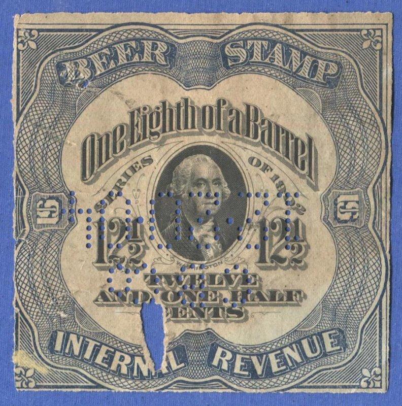 US Beer Stamp, Series 1902 Sc REA75b Used VG, 1/8 Barrel, 12 1/2c on pale green