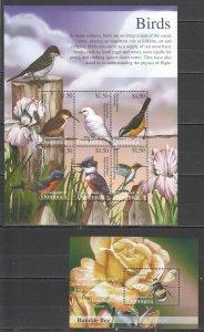 K0908 DOMINICA FLORA & FAUNA BIRDS & BUMBLE BEE 1KB+1BL MNH