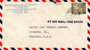 Barbados 1/- Seal of the Colony 1949 Air Mail, G.P.O. Barbados Airmail to Ric...