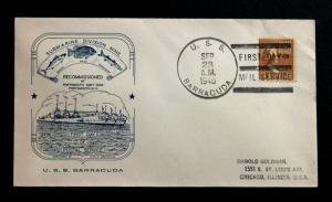 US Stamp Sc 805 on USS Barracuda Cover Sep 23, 1940 First Day of Postal Service