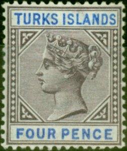 Turks Islands 1895 4d Dull Purple & Ultramarine SG71 Fine Very Lightly Mtd Mint