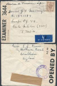 1943 Wimbledon England to Italy Prisoner of War POW Camp 48 Cover J MArrington