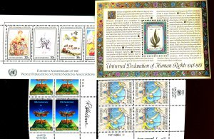 UNITED NATIONS #493, 545, 552, 553 INSPERATIONS BOOKS SOUVENIR SHEET