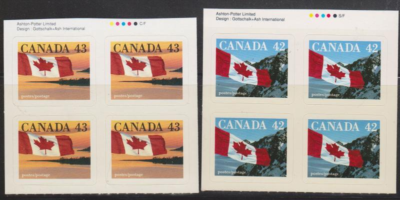 Canada USC #1388&1389 Mint Imprint Blocks of Four ex Booklets - 42c & 43c Flags