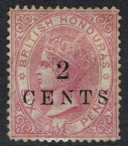 BRITISH HONDURAS 1888 QV SMALL NUMERAL 2C ON 6D WMK CROWN CC PERF 14