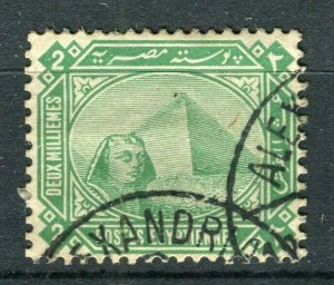 EGYPT; 1888-1900s early Pyramid & Sphinx issue used Shade of 2m. value
