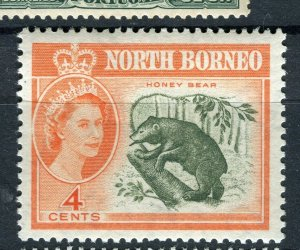 NORTH BORNEO; 1961 early QEII pictorial issue fine Mint hinged 4c. value