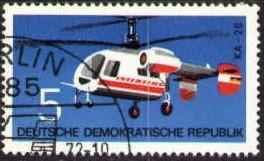 Aircraft, Kamov Helicopter, DDR stamp SC#1366 used