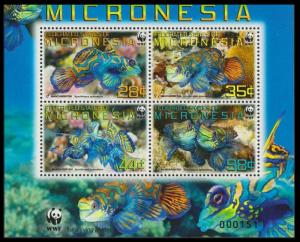 Micronesia WWF Mandarinfish 4v in block 2*2 with WWF Logo MI#2052-2055 SC#848a-d