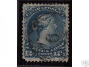 Canada #28b Used With Scarce Fancy 6 Cancel