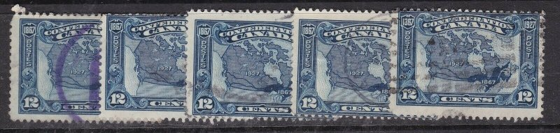 CANADA   ^^^^^1927  sc# 145  x5  better used  $$@ ta 529cana