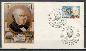 Italy, Scott cat. 1386. Roland Hill, Stamp on Stamps. First day cover. ^