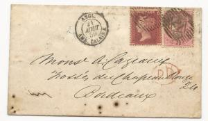 GREAT BRITAIN Scott #20 & #26 on Cover 1859
