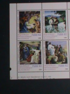 CONGO-1999 CHRISTMAS SHEET-THE STORY OF JESUS CHRIST-PAINTING MNH S/S VF