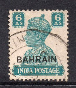 Bahrain 1942 KGVI 6a turquoise-green SG 48 used