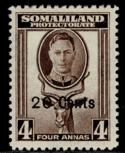 SOMALILAND PROTECTORATE GVI SG128, 20c on 4a sepia, M MINT.