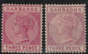 Barbados 1882-1885 SC 63-63a Mint SCV $135.00