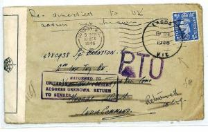 GB London FORCES INDIA COMMAND NIGERIA Lagos Cover CENSOR Returned 1946 CW238