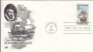 1984, 400th Anniv. Roanoke Voyages, Artcraft, FDC (D14897)