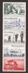 1977 Sweden -Sc 1207b -MNH VF-Strip of 5 - Illust. of The Calle Schewen Waltz