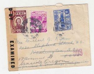 PERU, 1941 Censored cover, Lima to USA.