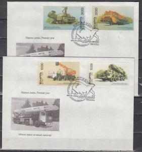 Belarus, Scott cat. 295-298. Minsk made Trucks issue on 2 First day covers.*