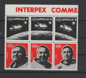 USA - Block of 6 Interpex Expo Stamps featuring Apollo 8 Astronauts - MNH