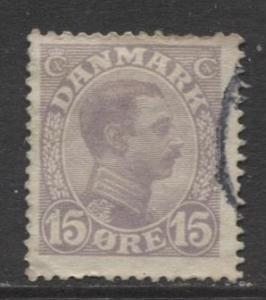 Denmark - Scott 102 - King Christian X Issue -1913 - Used - Single 15o Stamp