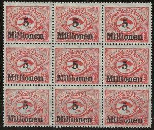 Danzig Mi 180F I MNH (Cent. Stmp) in Blk of 8 180s MNH  (Top Center stamp=MH)
