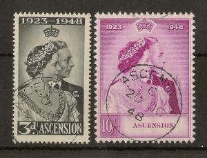 Ascension 1948 Royal Silver Wedding SG50-51 Fine Used - FDi CDS