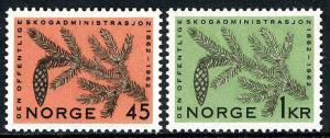 Norway 406-407, MNH. Forest League Administration, cent. Fir Branch, Cone,1962