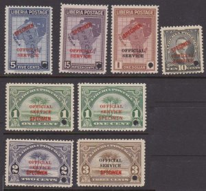 Liberia official stamps - specimens MNH