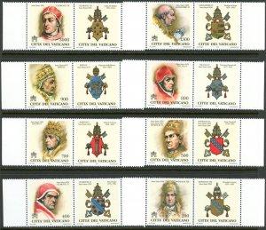 Vatican City MNH mint 1065-72 historic popes      (Inv 001769.)