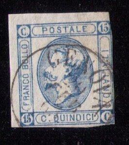 ITALY 1863 Sc #23a  Emmanuel II Type I Used Fine Cat.$30.00