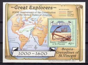 Bequia 1988 Sc#259 Great Explorers Anchor,Long Boat,Ship Souvenir Sheet MNH