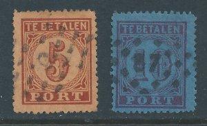 Netherlands #J1-2 Used 1870 Postage Dues