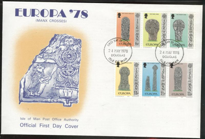 Isle of Man Scott 143a and 136a Europa 1976 FDC Maxim