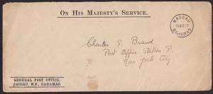 BAHAMAS 1917 OHMS cover Nassau to USA......................................S1927