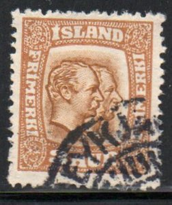 Iceland  Sc  100 1915 3 aur 2 Kings stamp used