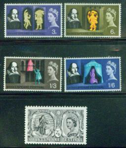 Great Britain Scott 402-406 MHNH** Shakespeare 1964 stamp set