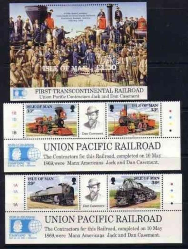 ISLE OF MAN 1992  S/S GUTTER PAIRS SET RAILROAD TRAINS 5971-RD