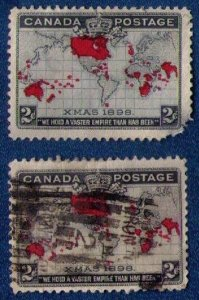 Canada Xmas 1898 Two Stamps MH w/fault and used Sc #85 & Sc #86 Map of British P
