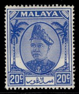 MALAYSIA - Selangor GVI SG102, 20c bright blue, M MINT.