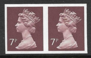 7p Brown Decimal Machin with CB imperforate pair Head B1 UNMOUNTED MINT