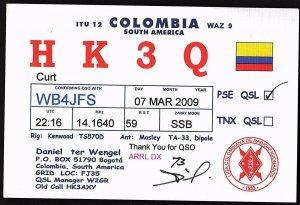 QSL QSO RADIO CARD HK3Q,Daniel Ter Wengel,Flag/Colombia,South America (Q2848)