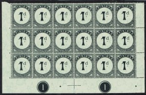 TRINIDAD 1905 POSTAGE DUE 1D STAMPS MNH ** PLATE 1 BLOCK WMK MULTI CROWN CA