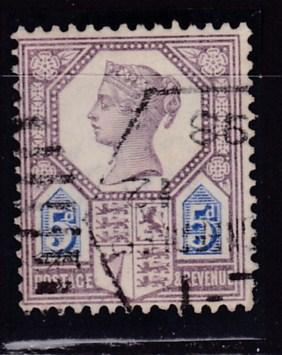 Great Britain 1887 5d lilac & blue  Queen QV Jubilee F/ VF/Used/(o)