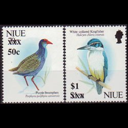 NIUE 1996 - Scott# 676-7 Birds Surch. Set of 2 NH