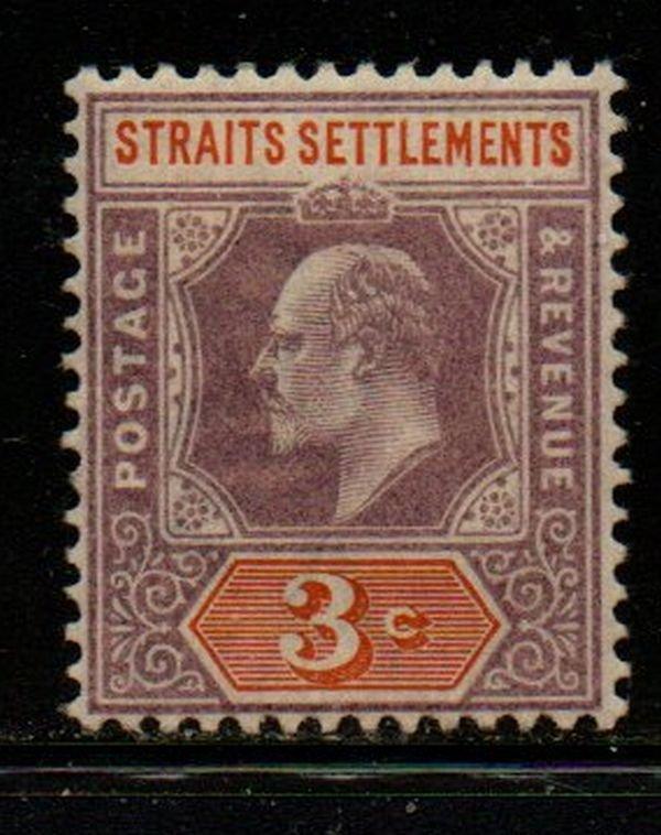 Straits Settlements Sc 94 1902 3 c violet & orange Edward VII stamp mint