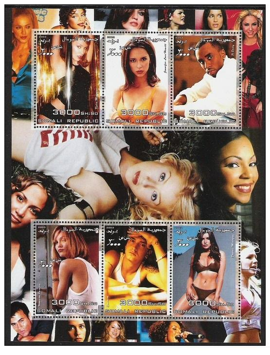 Somalia 2003 Famous People Star Singer Celebrity Film Cinema Actoress Art Stamps